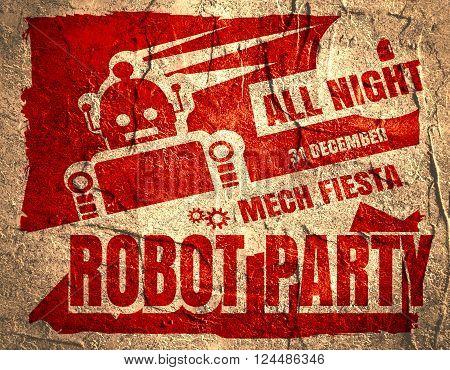 Retro robot party poster. Mech fiesta. Abstract robot silhouette