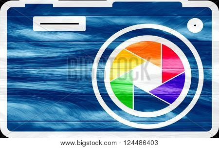 Photo camera icon. Outline silhouette with rainbow colors lens aperture Grunge textured