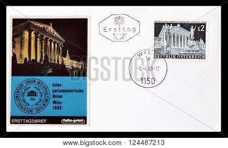 AUSTRIA - CIRCA 1969 : Cancelled First Day Cover letter printed by Austria, that shows Austrian parliament.