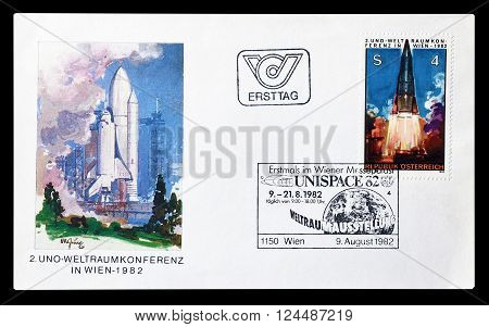 AUSTRIA - CIRCA 1982 : Cancelled First Day Cover letter printed by Austria, that shows Space rocket.