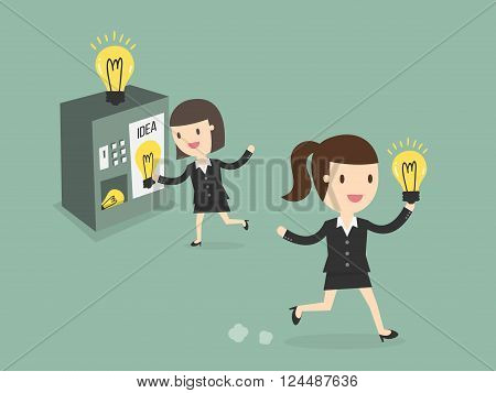 young business woman buy new ideas from vending machine
