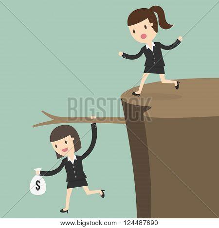 Fiscal cliff crisis concept. Business Concept Cartoon Illustration.
