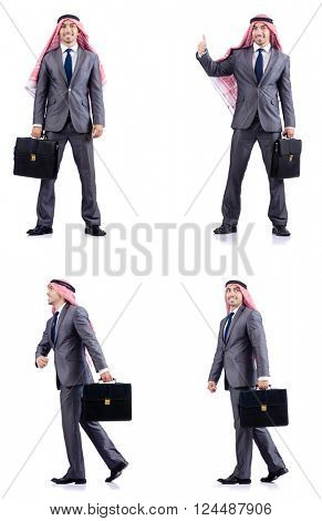 Set of photos with arab businessman
