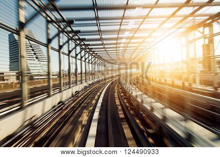 Train passing though tunnel