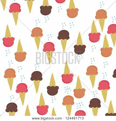 Three ice-cream cone flavour isolated on white background vector illustrations with color sugar as topping above each cone