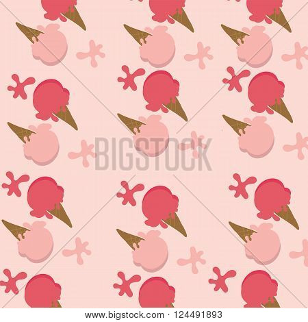 Background of ice cream two color red strawberry sherbet and pink strawberry on pink background