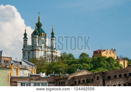 Famous Saint Andrew Church in Kiev, Ukraine
