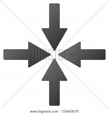Collide Arrows vector toolbar icon for software design. Style is a gradient icon symbol on a white background.