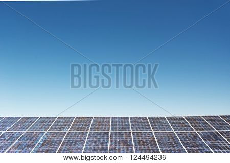 Panels of solar power station on the field