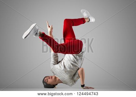 Young Break-dancer Practice