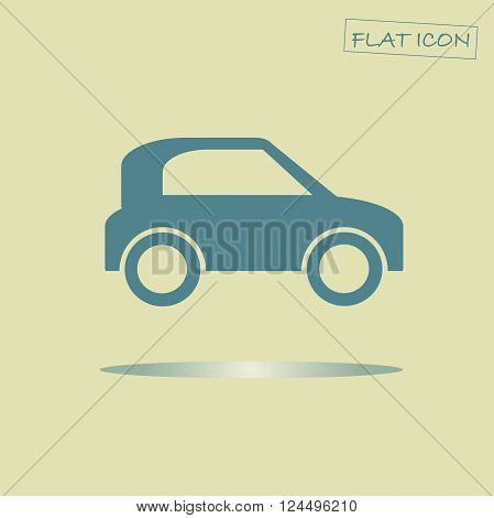 Flat car icon. Blue car on light yellow background. Icon vector