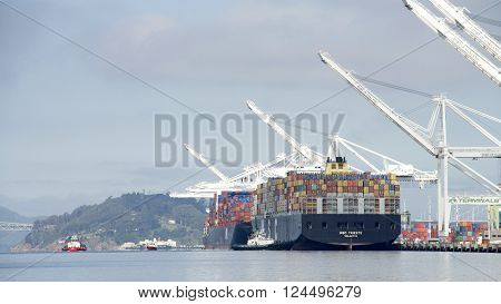 Cargo Ship Msc Trieste Arriving At The Port Of Oakland