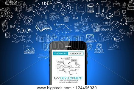 App Development Concept Background with Doodle design style :user interfaces, UI design,mobiel devices. Modern style illustration for web banners, brochure and flyers.