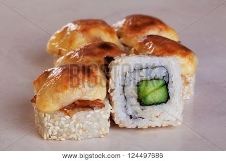 baked cucumber sushi roll, filling, delicious squid grilled cap cheese, smoked
