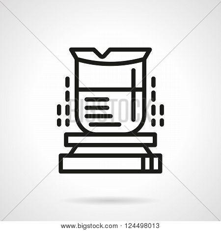 Laboratory equipment and glass ware for research and experiment. Flask for heating liquids. Chemistry. Science and education. Simple black line vector icon. Single element for web design, mobile app.