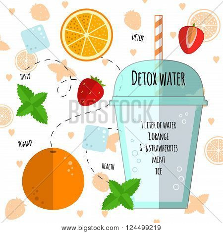 Recipe detox water with orange, mint, strawberry, ice. Vector illustration for greeting cards, magazine, cafe and restaurant menu. Fresh cocktail for healthy life, diets.