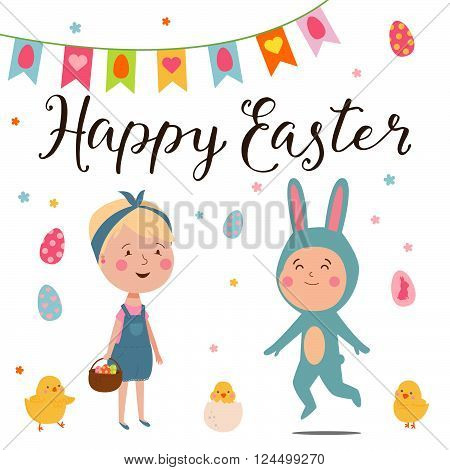 Cute Happy Easter card with bunny, girl andlittle boy in rabbit costume. Cute, trendy design elements for different decor. Lettering sing - Happy Easter.