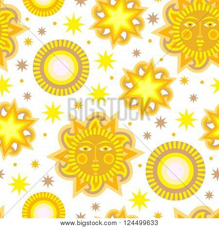 White summer seamless pattern background with stars. Vector illustration