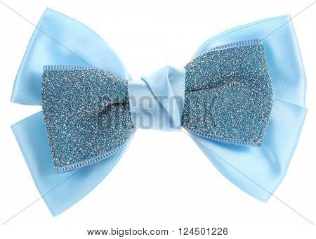 Double blue hair bow tie with sequins