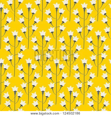 Wild bluebell bright yellow flower spring field seamless pattern. Floral tender fine summer vector pattern background. For fabric textile prints and apparel.