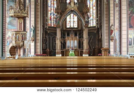 Interior of the St. Maria Catholic church in Schaffhasuen, Switzerland