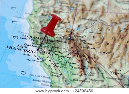 Map with pin point of San Francisco in California, USA