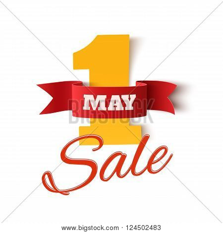May 1st. Sale. Labor Day background. Poster or brochure template on white backdrop. Vector illustration.