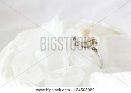 Jewelry and Food Series: Pearl Ring Jewel in Crystal Sugar - high key