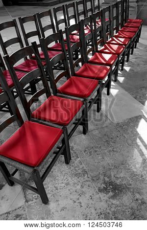 chairs with red cushions in inside the Magdeburg Cathedral