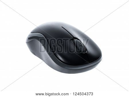 Front View Od Black Wireless Computer Mouse Isolated On White Background