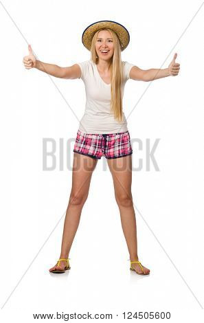 Optimistic woman in pink plaid shorts isolated on white