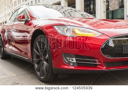 Detail Of Tesla Model S Car In Milan, Italy