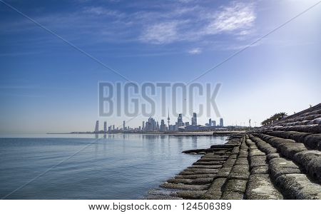 kuwait city sky scrapper from shuwaikh port