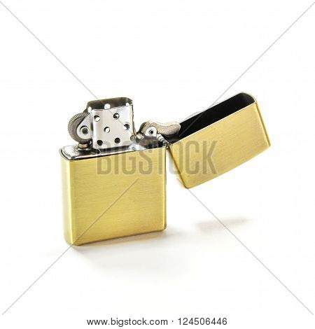 Closed Up Zippo Lighter Isolated on White Background ** Note: Visible grain at 100%, best at smaller sizes