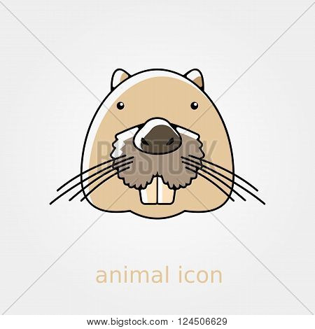 Otter beaver flat icon. Animal head vector symbol eps 10