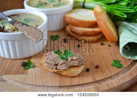 homemade liver pate with spices and toast