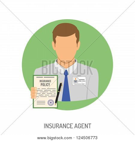 Insurance Agent Flat Icon for Web Site, Advertising with Policy.
