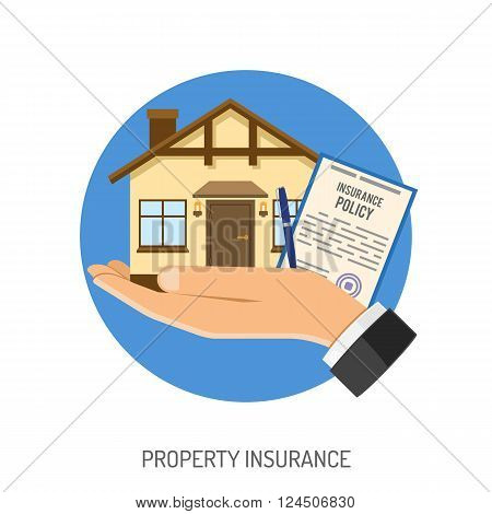 Insurance Flat Icons Set for Poster, Web Site, Advertising like House, House and Policy.