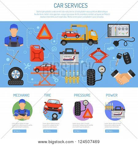 Car Service Infographics with Flat Icons for Poster, Web Site, Advertising like Laptop, Tow, Battery, Jack, Mechanic.