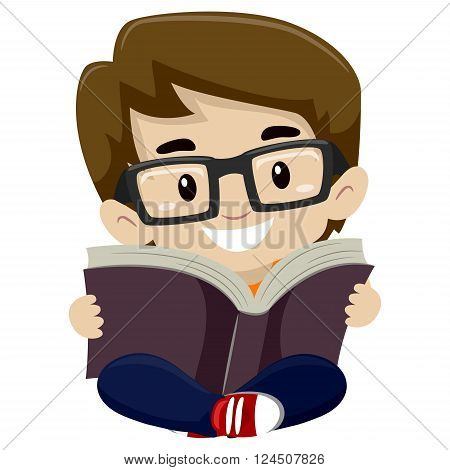Vector Illustration of a Kid Boy Reading a Book