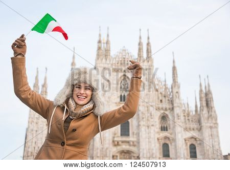 Happy Woman Tourist With Italian Flag Rejoicing Near Duomo