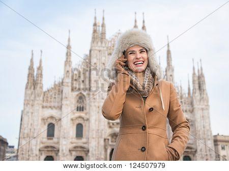 Smiling Woman Tourist Talking Cell Phone Near Duomo, Milan