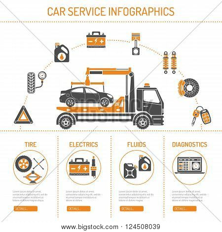 Car Service Infographics with Icons for Web Site, Advertising like Manipulator, Battery, Oil.