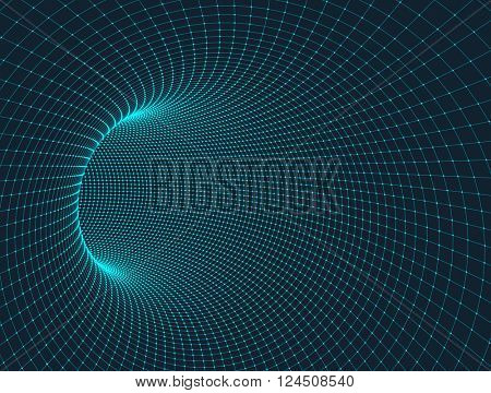 Vector abstract digital background. 3D tunnel grid.