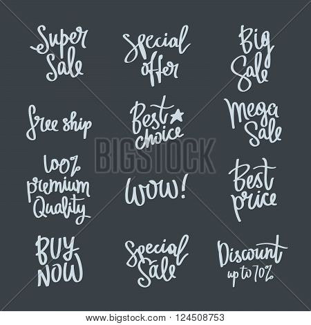 Set of calligraphy on the theme of sale. Best price 100% premium quality best choice buy now a special offer a mega sale big sale free shipping. Vector illustration on a dark background. Fashion quotes. Elements for design.