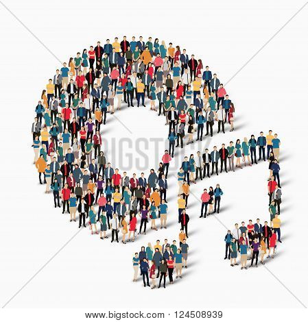 Isometric set of styles  , musik  , symbol web infographics concept vector illustration of a crowded square, flat 3d. Crowd point group forming a predetermined shape. Creative people. - Vector Illustration. Stock vector.