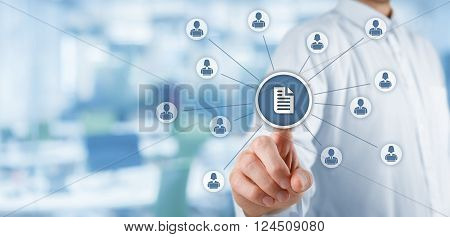 Corporate data management system (DMS) and document management system concept. Businessman publish document connected with corporate users working on notebooks with access rights office in background.