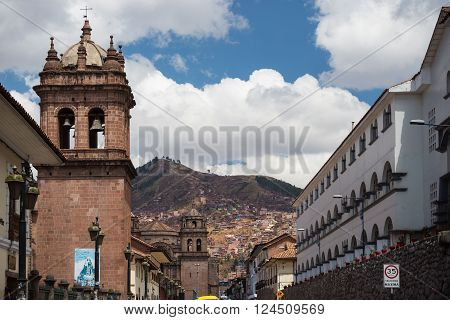 Colonial architecture and cityscape in Cusco, Peru, former Inca capital, famous travel destination in the world.