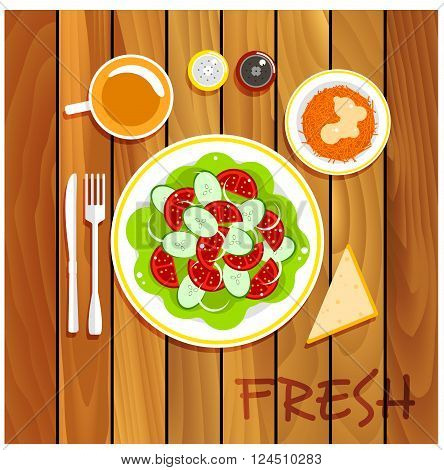 Healthy vegetarian lunch served on wooden table with fresh vegetable salad with tomatoes, cucumbers and onion, grated carrot with whipped cream and honey, piece of bread with cup of tea, salt and pepper shakers. Flat style
