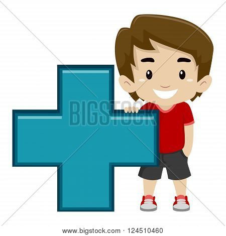 Vector Illustration of a Boy holding Math Addition Symbol